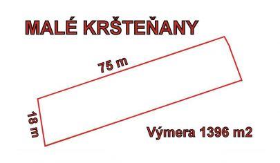 MALÉ KRŠTEŇANY stavebný pozemok 1396 m2  okr.Partizánske