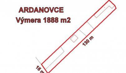ARDANOVCE stavebný pozemok výmera 1888 m2, okr. Topoľčany