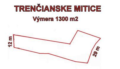 TRENČIANSKE MITICE. stavebný pozemok 1300 m2. okr. Trenčín