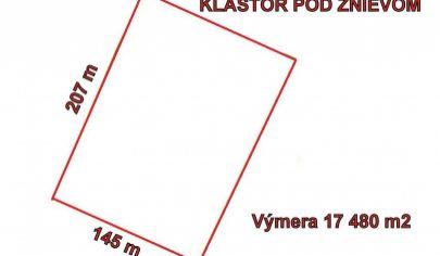 KLÁŠTOR POD ZNIEVOM - pozemok výmera 17480 m2 okr. Martin