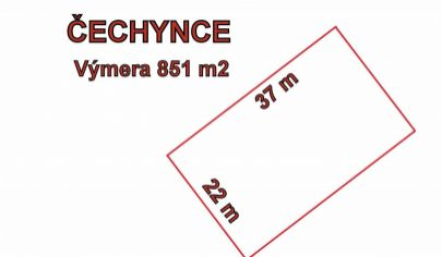 ČECHYNCE stavenbný pozemok 851 m2, okr. Nitra