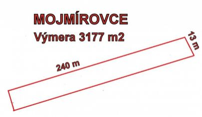 MOJMÍROVCE stavebný pozemok 3177m2 na stavbu domu okr. Nitra