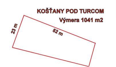 KOŠŤANY Nad TURCOM - stavebný pozemok rozloha 1041 m2.