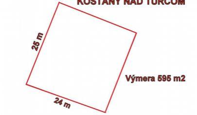 KOŠŤANY NAD TURCOM - stavebný pozemok výmera 595 m2, okr. Martin