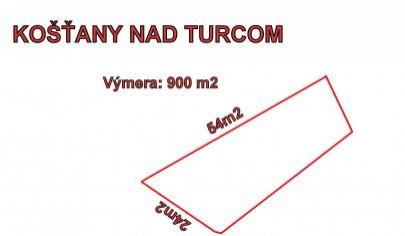 Košťany nad Turcom pozemok 900 m2.okr.Martin