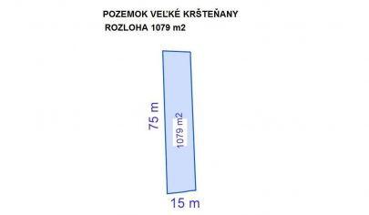 VEĽKÉ KRŠTEŇANY, stavebný pozemok 1079 m2