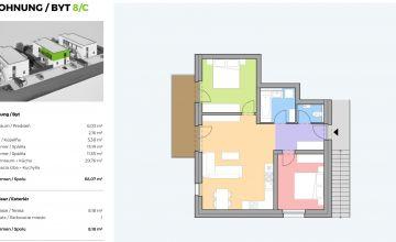 Na predaj 3 izbový byt s terasou vo Wolfsthale