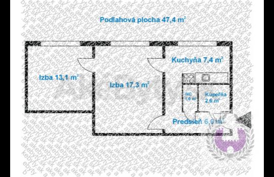 PREDAJ: 2-izb.byt, 51m2, Bodvianska ul, Bratislava II.