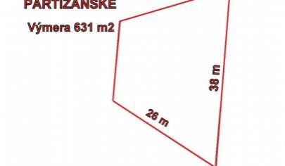 PARTIZÁNSKE stavebný pozemok 631 m2,