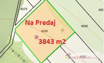 Znížená cena, na predaj rekreačný pozemok 3843 m2, Horné Srnie.