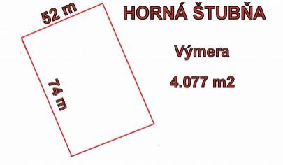 HORNÁ ŠTUBŇA pozemok s výmerou 4077 m2, okr.Turčianske Teplice.