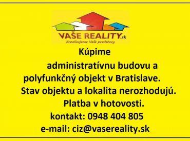Kúpime administratívnu budovu, alebo polyfunkčný objekt v Bratislave