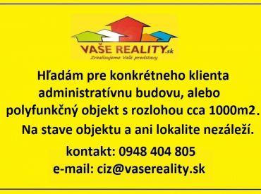 Kúpime administratívnu budovu, alebo polyfunkčný objekt s rozlohou približne 1000m2 v Bratislave