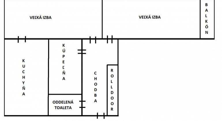 Na predaj 2 izbový byt Levice, priamo v centre, 64,70m2