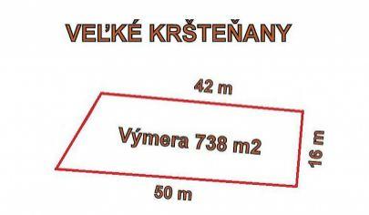 VEĽKÉ KRŠTEŇANY stavebný pozemok výmera 738 m2, okr.Partizánske