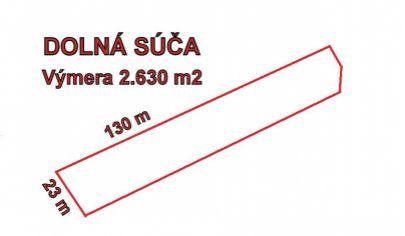 DOLNÁ SÚČA stavebný pozemok výmera 2630 m2, okr. Trenčín