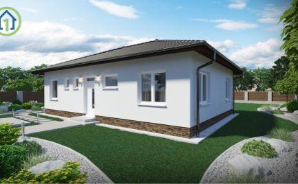 NOVOSTAVBA!!! Nízkoenergetický bungalov 96 m2 obytnej plochy na slnečnom 8 árovom pozemku Fintice