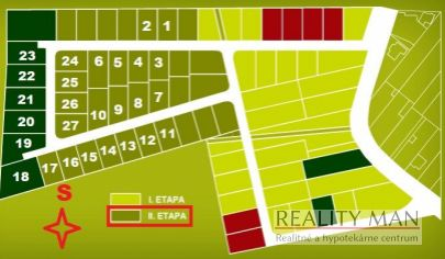 REALITY MAN - SPA rezort - 2. etapa - zoznam voľných stavebných pozemkov pre rodinné domy - Banka