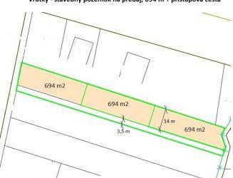 Ponúkam na predaj pozemky vo Vrútkach o výmere 694 m2