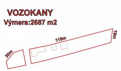 VOZOKANY  stavebný pozemok 2687 m2, okr, Topoľčany