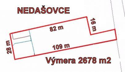 NEDAŠOVCE stavebný pozemok výmera 2678 m2, okr. Bánovce nad Bebravou