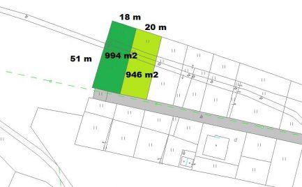 Stavebný pozemok 946 m2 a 994 m2, Badín  pri Banskej Bystrici  cena 74 990 €
