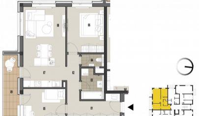 MARTIN 3 izbový byt 78m2 s balkónmi vo výstavbe, Priekopa