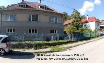 Rodinný dom 4i s pozemkom 1452 m2, Stará Lehota okr. NM.