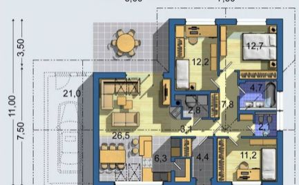 Novostavba rodinný dom bungalov 4+KK, pozemok 530 m2, B. Bystrica - Cena - 202 000€