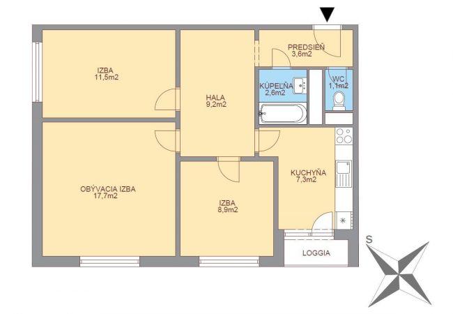 3 izbový byt v Petržalke, pôvodný stav, vlastná kotolňa, solárne kolektory,nizke náklady