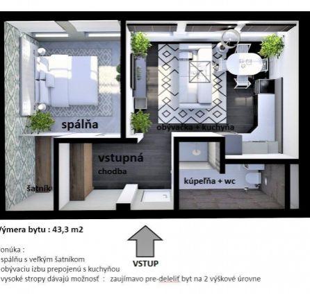 Netradičný / štartovací 2 izbový byt - kúpou voľný - CENA VRÁTANE provízie - Stará Vanorská - StarBrokers