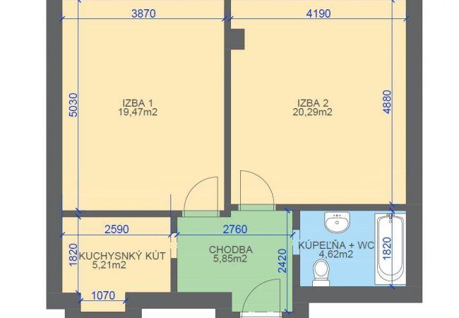 2 izb.byt, širšie centrum, tehla, výťah, bez balkónu, pôvodny stav