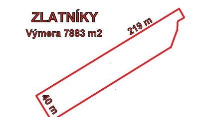 ZLATNÍKY, pozemok 7883 m2, okr. Bánovce nad Bebravou