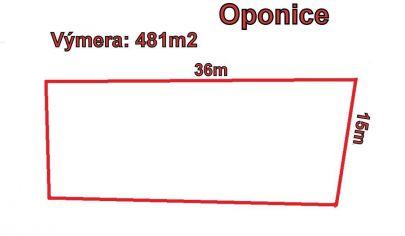 OPONICE  pozemok výmera 481 m2, okr Topoľčany