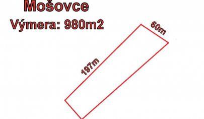 MOŠOVCE stavebný pozemok 980m2,  okr. T.Teplice
