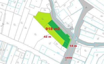 Stavebný pozemok 918 m2 m2, Badín pri B. Bystrica  Cena 67 000€