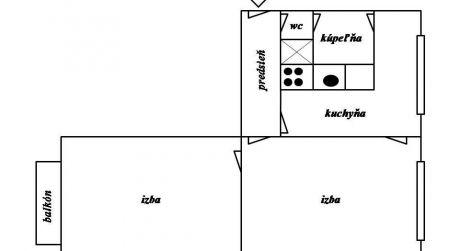 Predaj 2 izbového bytu s balkónom, Zvolen-Západ
