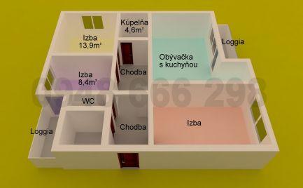 PLUHOVÁ - 4i BYT s 2 KÚPEĽŇAMI, 2 LOGGIAMI po KOMPLETNEJ REKONŠTRUKCII v TEHLOVOM dome