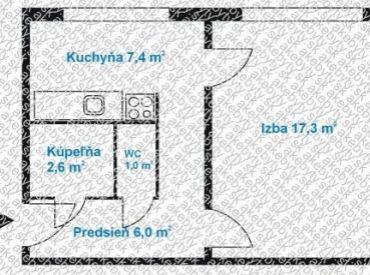 Na predaj 1 izbový byt v Bratislave - Podunajských Biskupiciach na Dudvážskej ulici.
