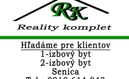 Hľadáme pre klientov 1 a 2 izbové byty v Senici