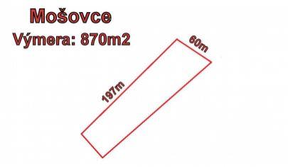 MOŠOVCE stavebný pozemok 870m2 okr., T.Teplice