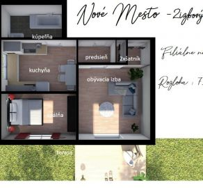 2i byt - 3min Trnavské+Račianske mýto - záhrada, parkovacie státie vo dvore - veľká pivnica  - Filiálne nádražie - Nové Mesto BA
