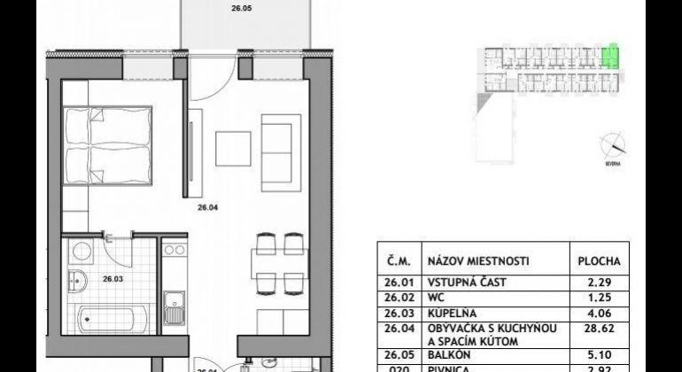 Predaj 1,5izbový byt Bratislava-Devínska Nová Ves, Bystrická ulica