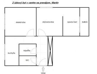 Na prenájom 2 izbový byt v centre Martina
