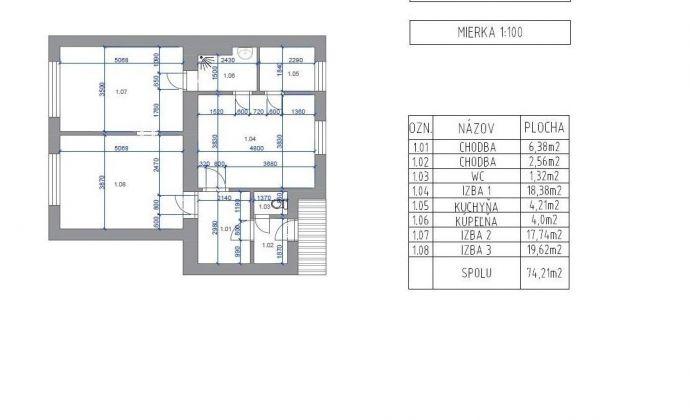 Na predaj 3 izb. tehlový byt Šancová