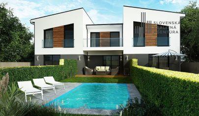 PREDANÉ: EXKLUZÍVNE na predaj novostavba dvojpodlažného 4i RD, záhrada, obec Šenkvice, len 5km od centra Pezinka