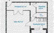 Predaj - veľkometrážny (43,23 m2 + loggia)1 izb.byt – loggia – na Veternicovej ul. v Bratislave