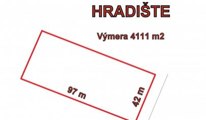 HRADIŠTE pozemok výmera 4111 m2, okr. Partizánske