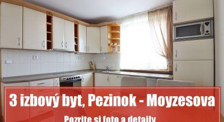 Hľadáte na prenájom pekný 3 izbový byt v Pezinku, kde budete mať všetko poruke?