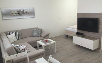 Ponúkame do prenájmu moderný, kompletne zariadený 1,5 izbový byt s garážou v novostavbe vo výbornej lokalite nedaleko Auparku na ulici Lužná v BA V. - Petržalka.